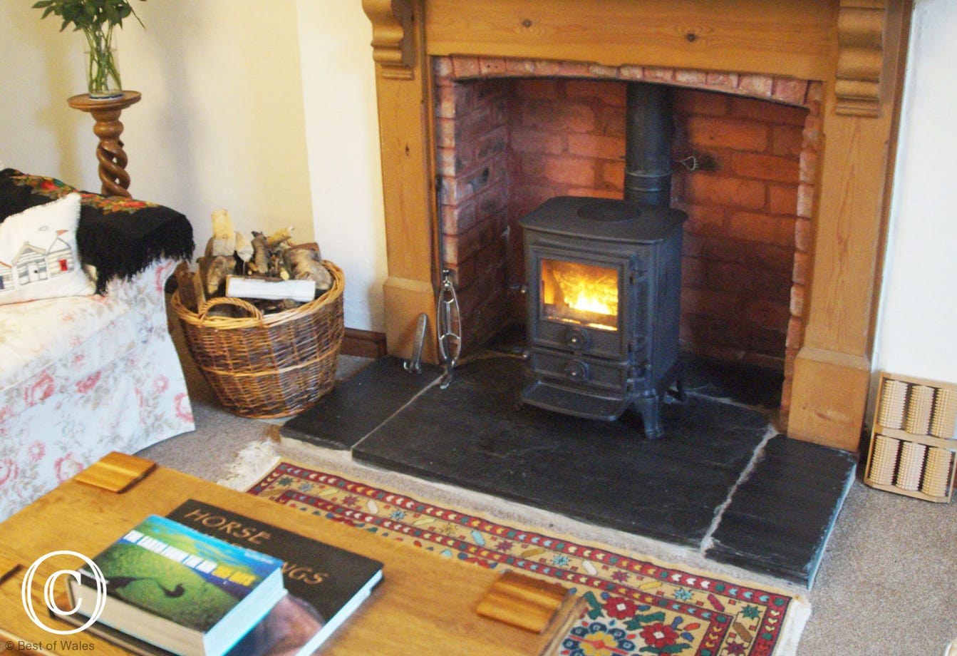 Cosy log fire at this Holiday Cottage in Llangwm