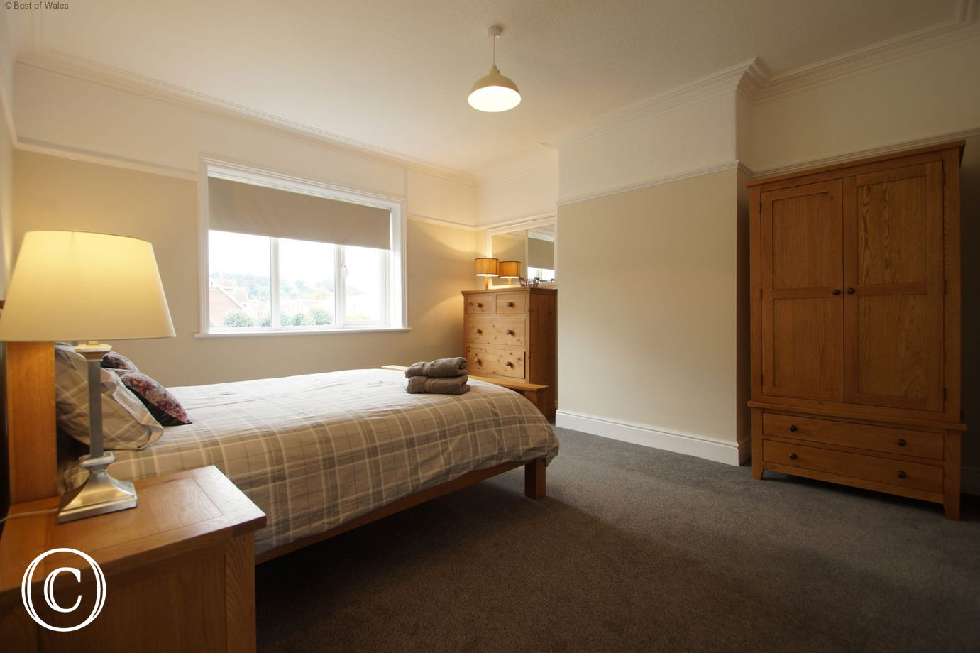Bedroom 3 - Another spacious bedroom with king size solid oak bed