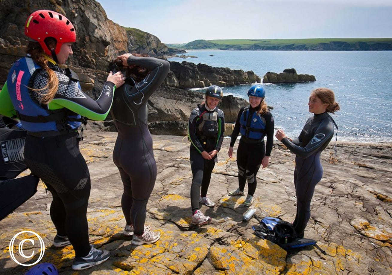 The area is perfect for Coasteering and other sea based activities