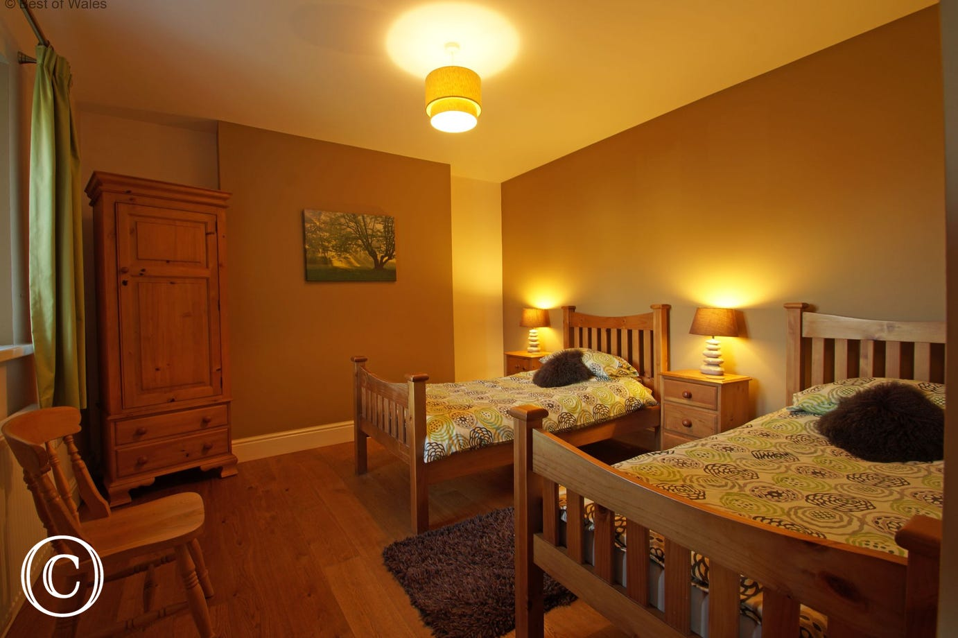 Ground floor twin bedroom with two comfortable single beds