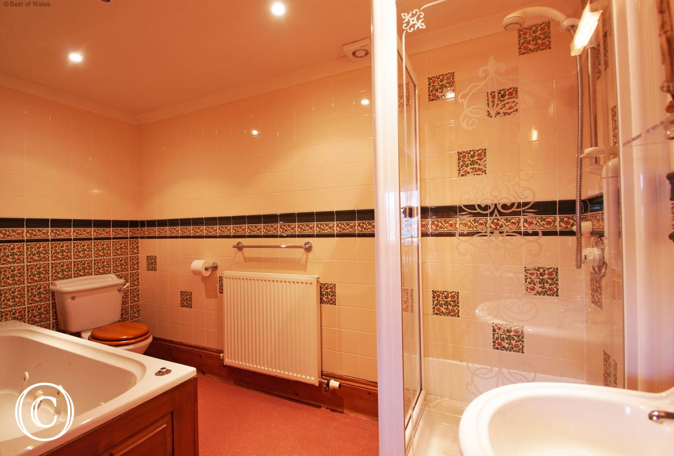 The ensuite has a shower cubicle and a large whirlpool type bath