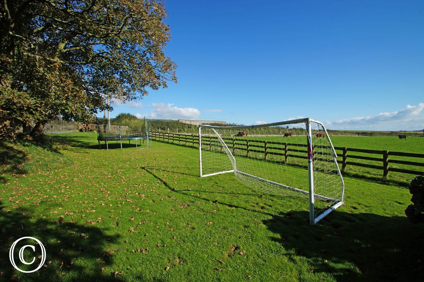 North wales self catering cottages: football goal and trampoline included