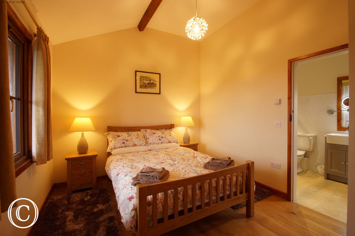Ensuite double bedroom with beautiful sea views