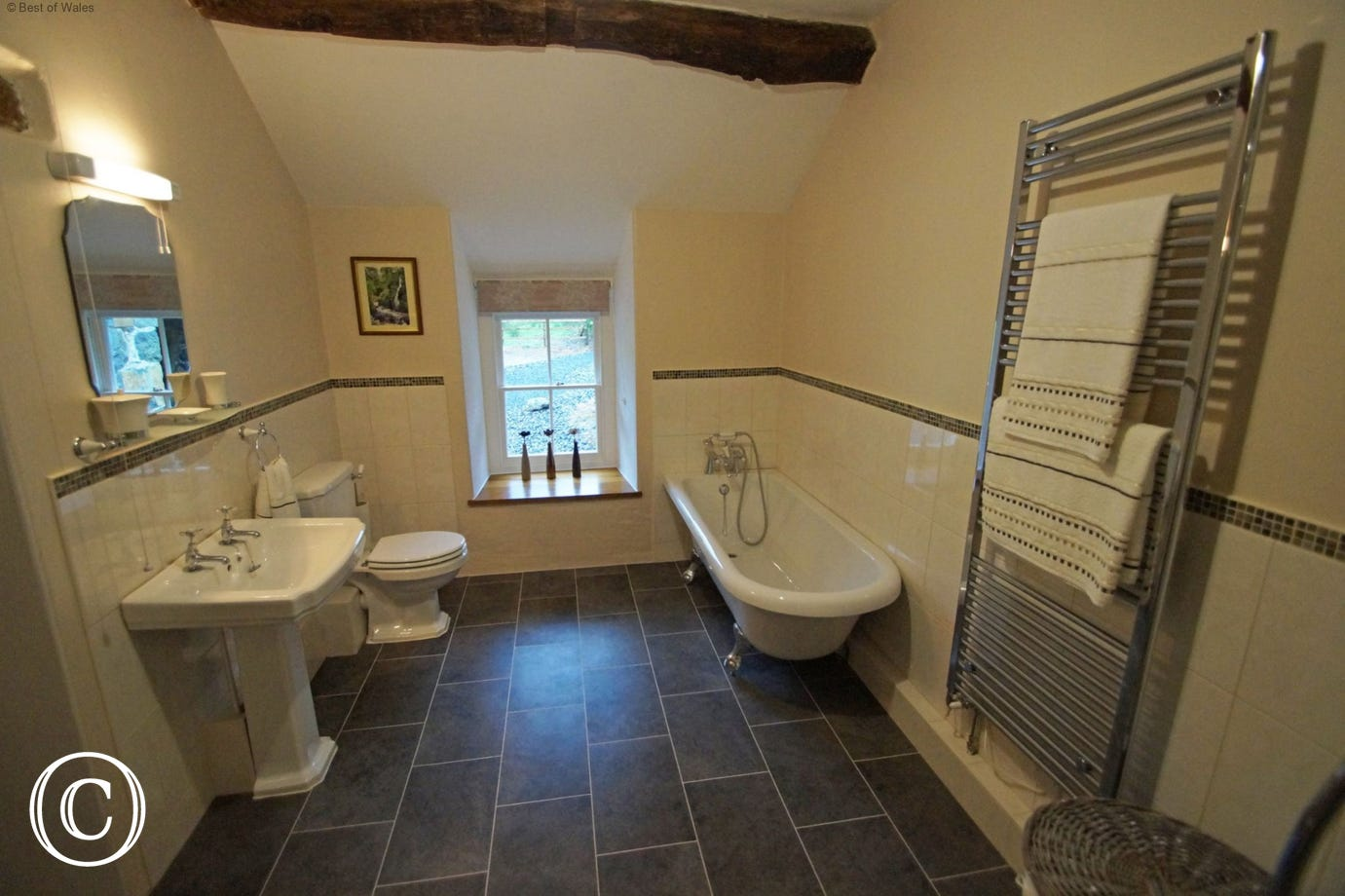 Large bathroom with roll top bath, spacious quadrant shower, basin & toilet