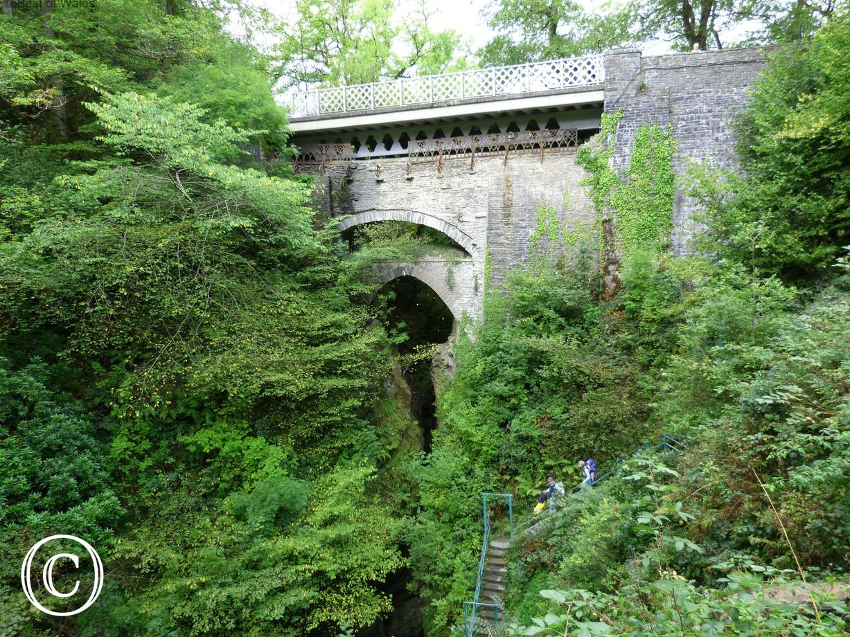 Devils Bridge's famous three bridges, built upon each other