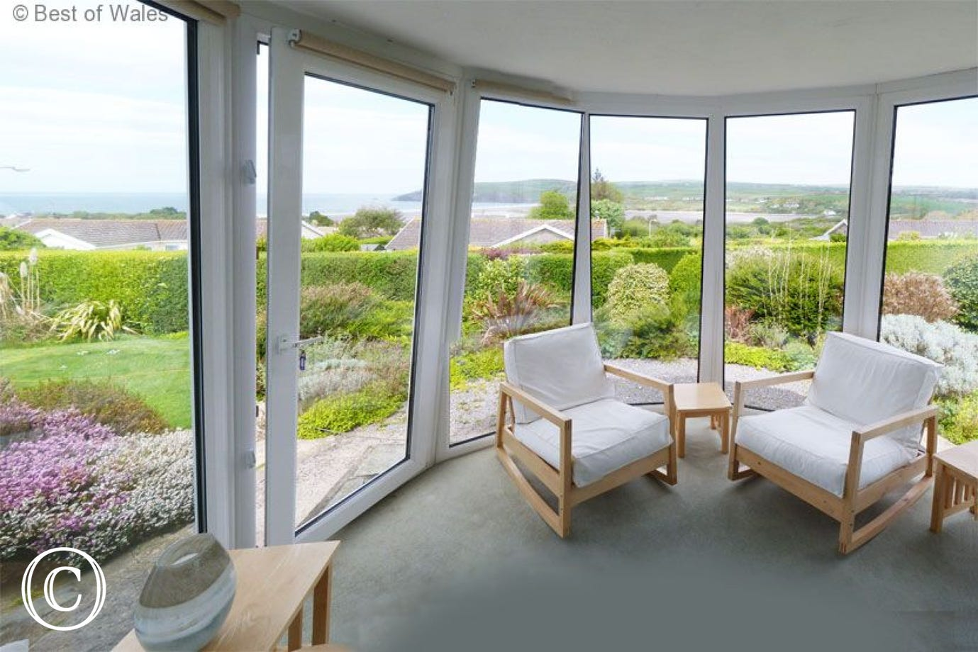 Conservatory with stunning views across Newport Bay