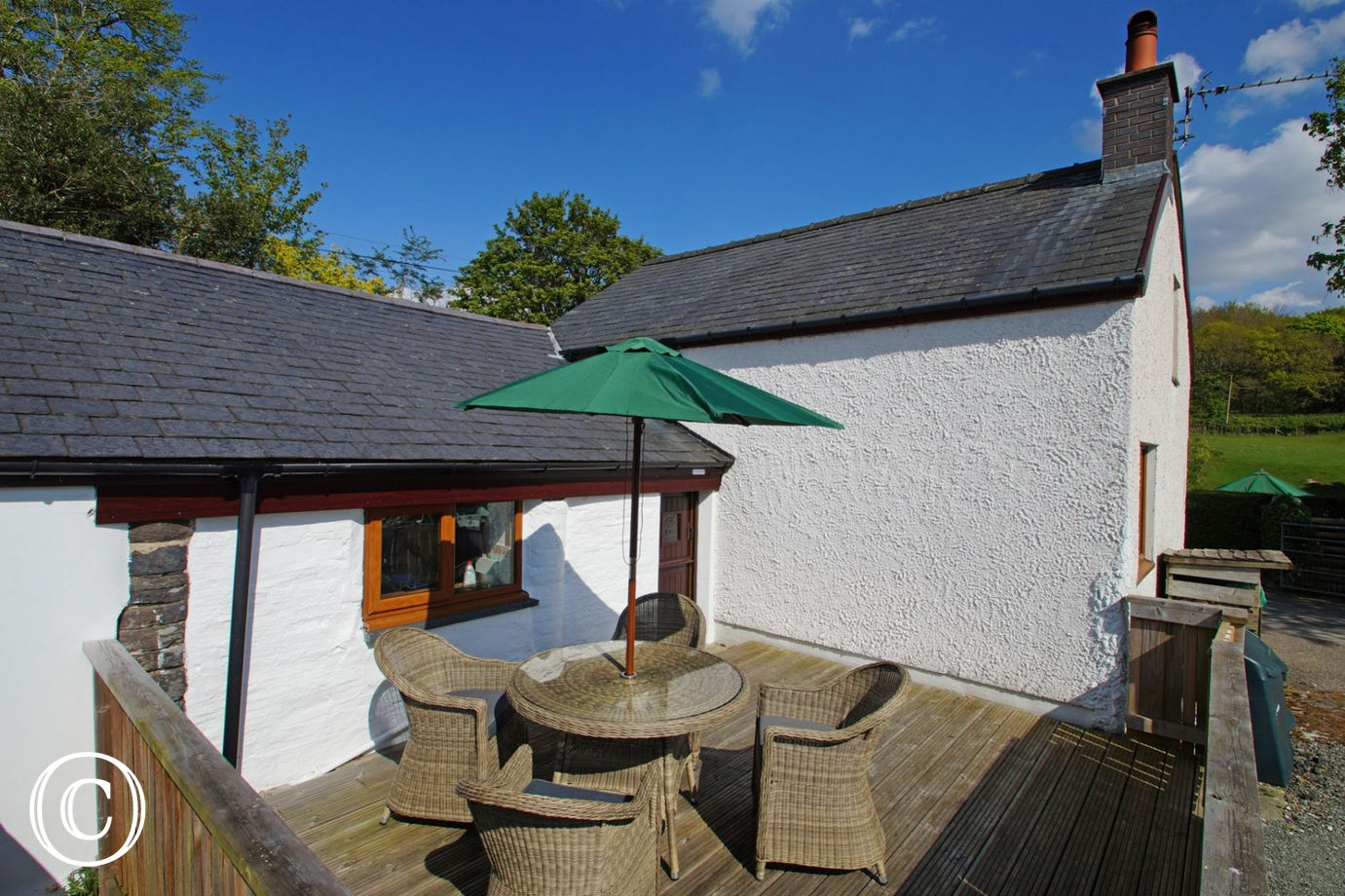 Private and enclosed patio at the rear of the cottage