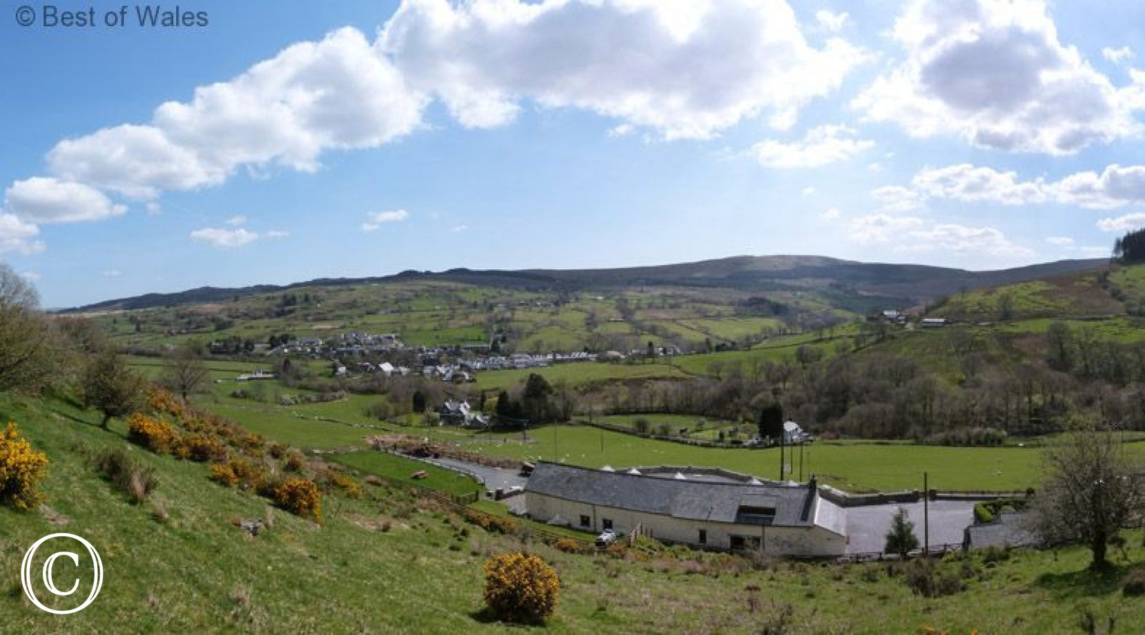 Enjoy the beautiful panoramic views from Llys y Wennol (photo taken from the field behind the cottage)