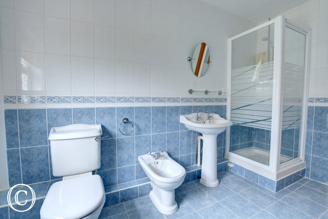 Alternate view of bathroom with shower cubicle, toilet, bidet and wash basin