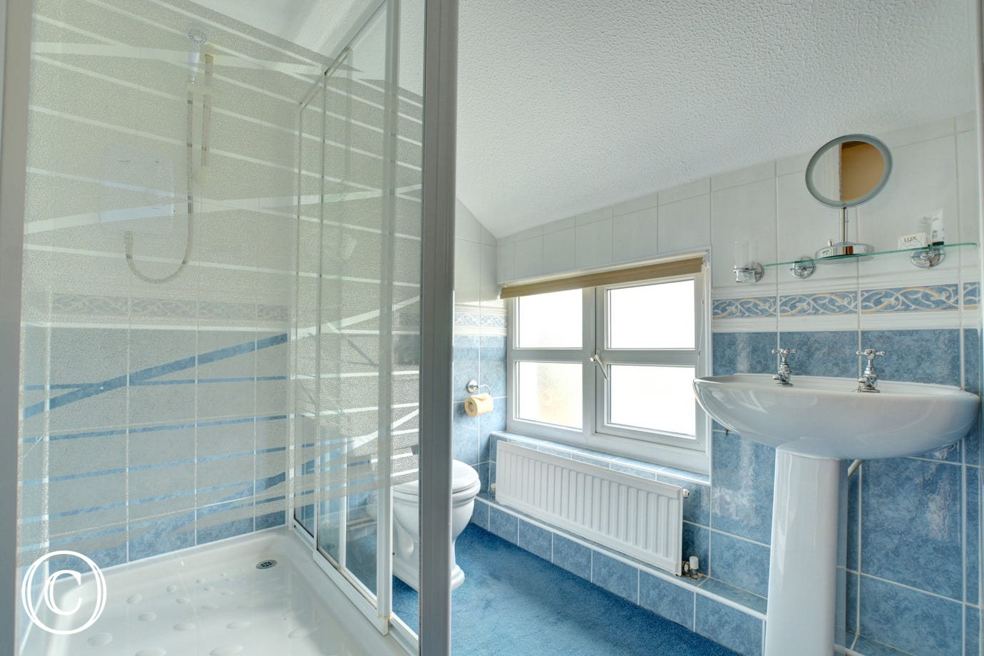 Separate shower room with shower, toilet & wash basin