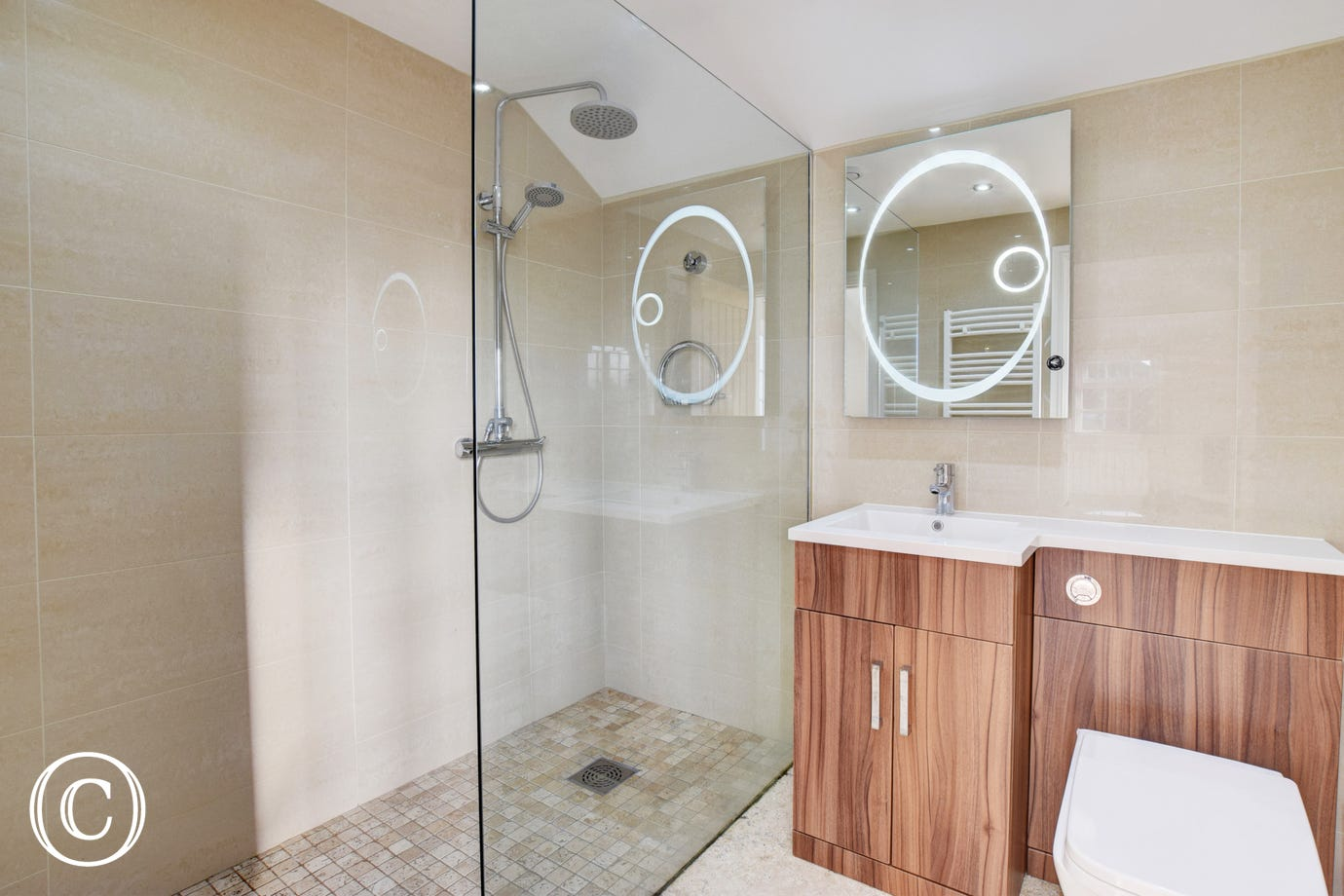 Stylish bathroom with Walk in shower