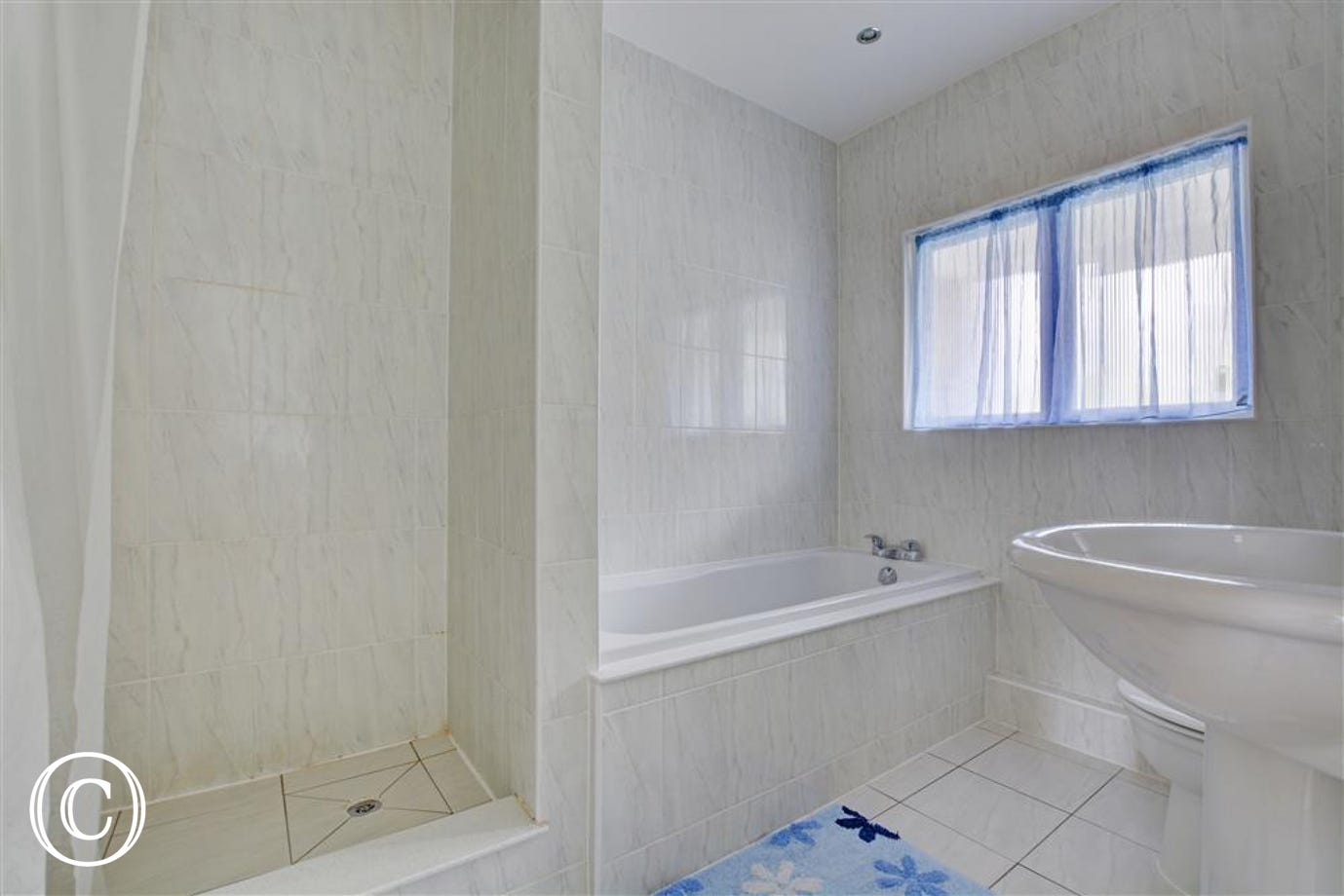 Beautiful bathroom with bath, separate shower, wc and whb
