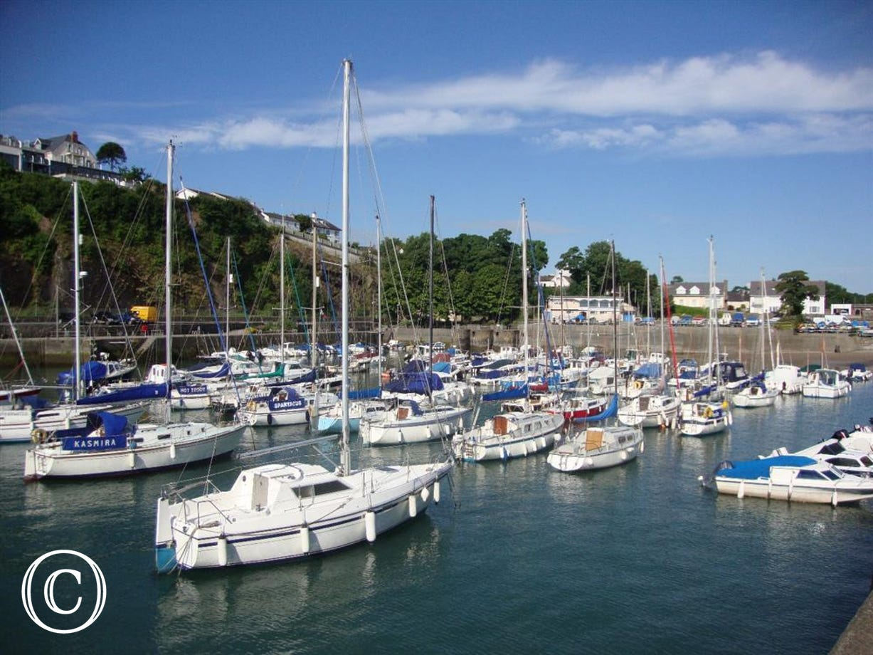 Saundersfoot harbour with boats