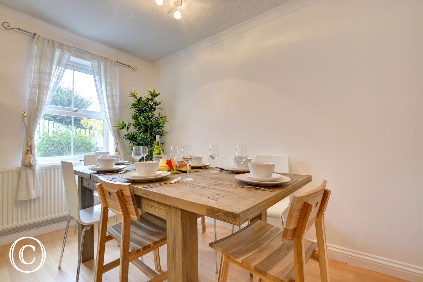 Dining table and chairs in this self catering property
