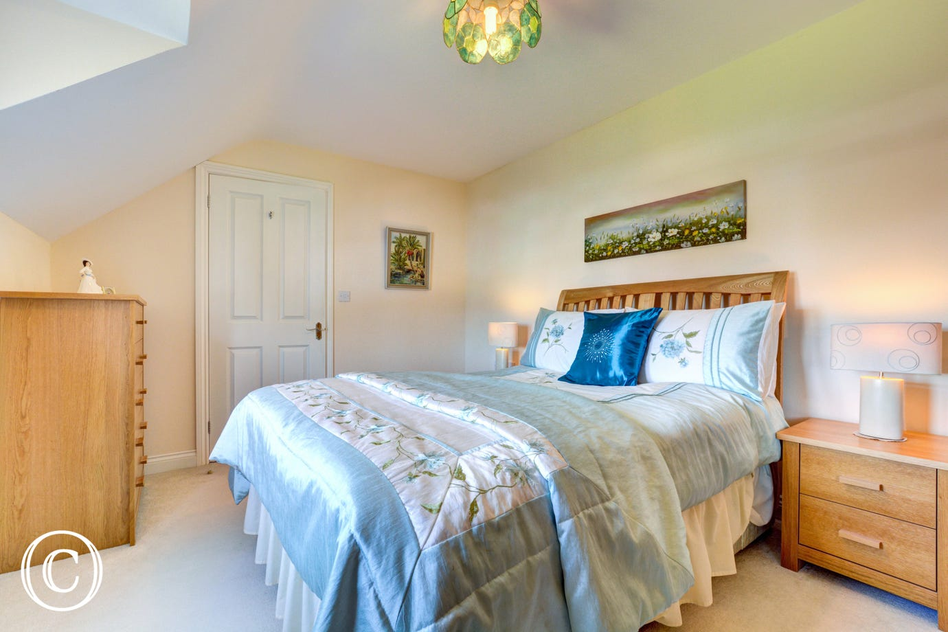 This holiday accommodation provides a second double bedroom