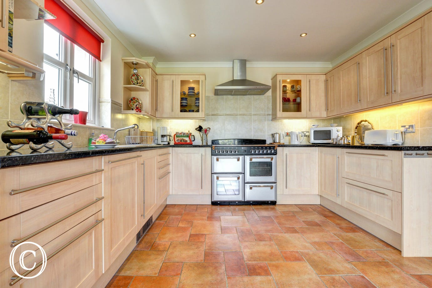 A well equipped spacious kitchen area in this self catering property