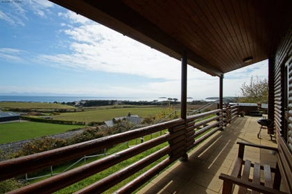 Sea view from Gorwel (Horizon) luxury log cabin North Wales