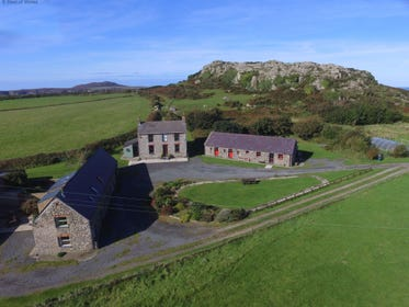 St Davids Self Catering from the air showing the cottages on the site