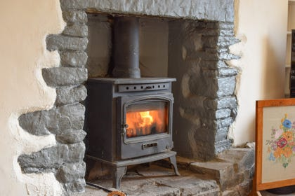wood buring stove at this character cottage in Llantrisant